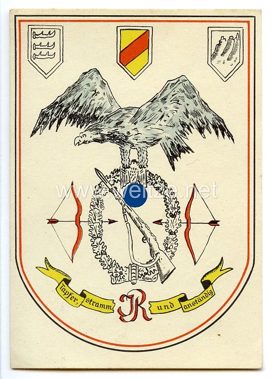 """III. Reich - farbige Propaganda-Postkarte - """" Infanterie-Regimente - Tapfer, stramm und anständig """""""