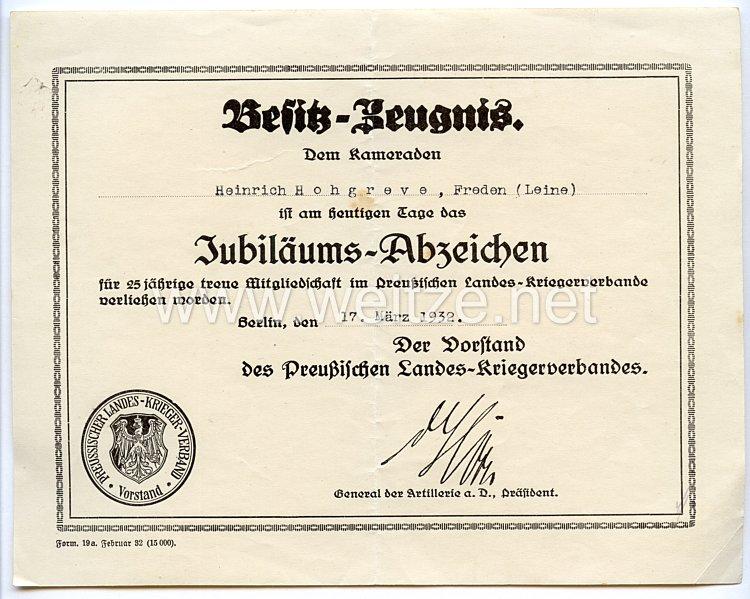 Preußischer Landes-Kriegerverband - Besitzzeugnis zum Jubiläums-Abzeichen für 25 jährige Mitgliedschaft