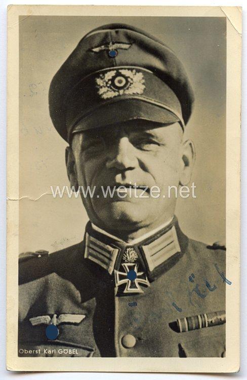 Heer - Originalunterschrift von Ritterkreuzträger Oberst Karl Göbel