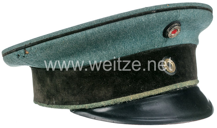 Preußen Schirmmütze feldgrau für einen Offizier im Dragoner-Regiment Nr. 6 oder 14