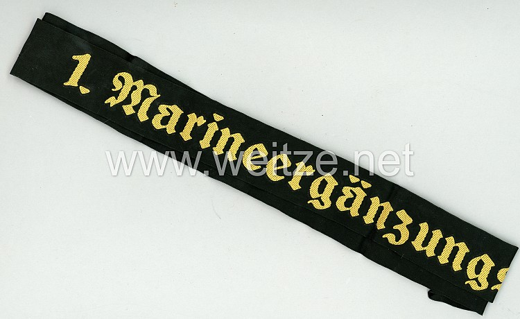"""Kriegsmarine Mützenband """"1. Marineergänzungsabteilung 1."""""""