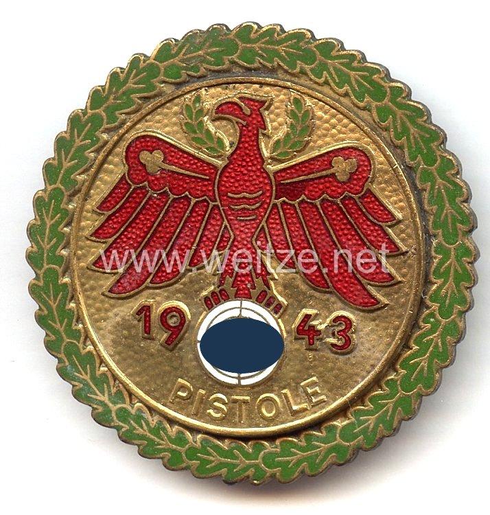 """Standschützenverband Tirol-Vorarlberg -Gaumeisterabzeichen 1943 in Gold mit Eichenlaubkranz """" Pistole """""""