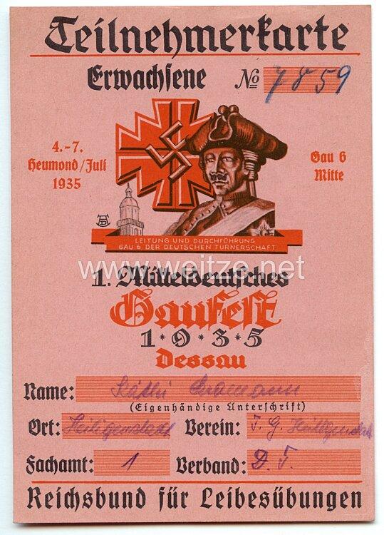 1. Mitteldeutsches Gaufest 1935 Dessau - Teilnehmerkarte