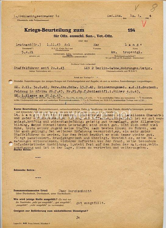 Luftwaffe - Originalunterschrift von Ritterkreuzträger Oberleutnant Erhard Nippa