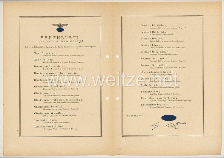 Ehrenblatt des deutschen Heeres - Ausgabe vom 18. März 1942