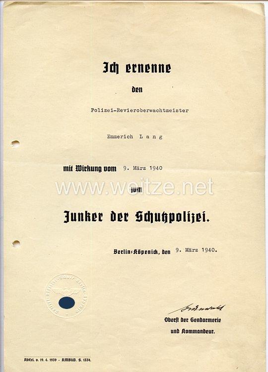 III. Reich - Originalunterschrift von Oberst der Gendarmerie Hans-Dietrich Grünwald