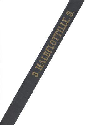 """Reichsmarine Mützenband """"3. Halbflottille3."""" in Gold"""