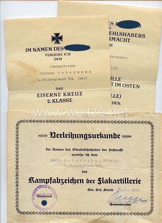 Luftwaffe - Urkundentrio für einen späteren Obergefreiten der 3./Flakregiment 701 (mot)