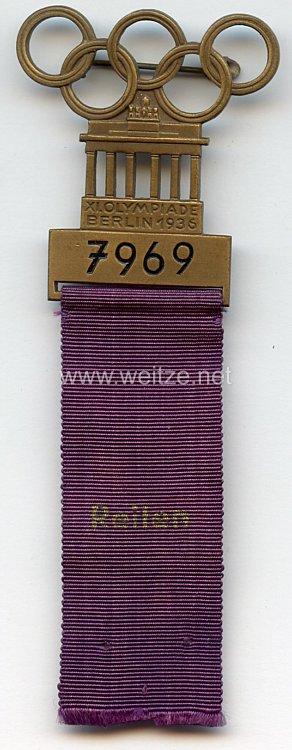 XI. Olympischen Spiele 1936 Berlin - Offizielles Teilnehmerabzeichen für einen Sportler in der Sportdisziplin Reiten