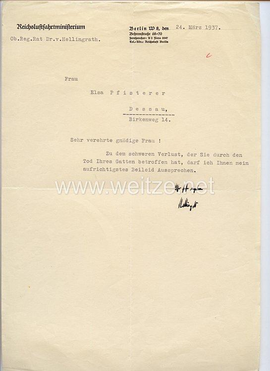 Luftwaffe - Originalunterschrift von Oberregierungsrat Dr.v.Hellingrath