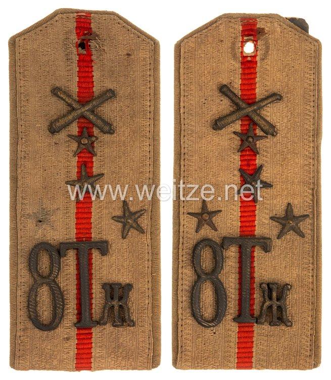 Zaristisches Rußland 1. Weltkrieg feldgrau Paar Schulterstücke für einen Hauptmann des 8. Schweren Artillerie Regiments