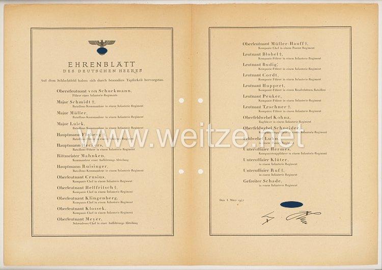 Ehrenblatt des deutschen Heeres - Ausgabe vom 1. März 1942