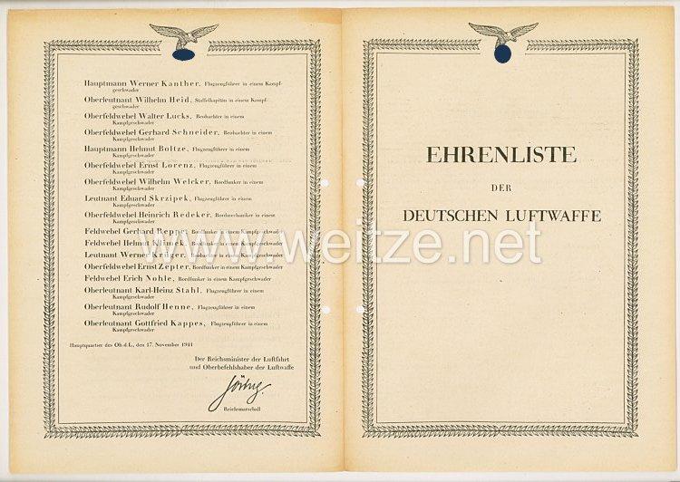 Ehrenliste der Deutschen Luftwaffe - Ausgabe vom 17. November 1941