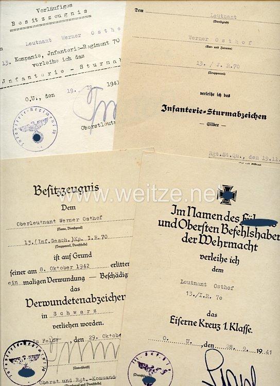 Heer - Urkundengruppe für einen Leutnant und späteren Oberleutnant der 13./Inf.-Rgt.70