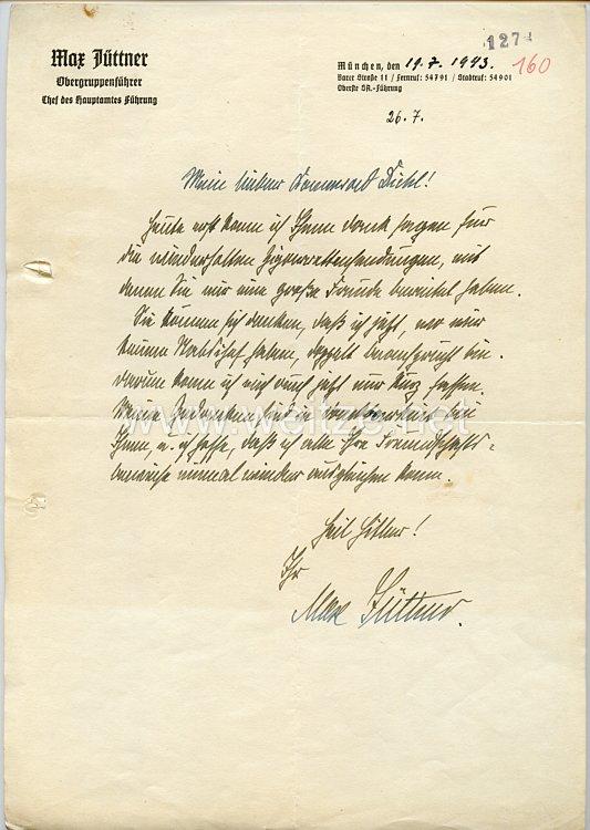 III. Reich - Originalunterschrift von SA-Obergruppenführer Max Jüttner