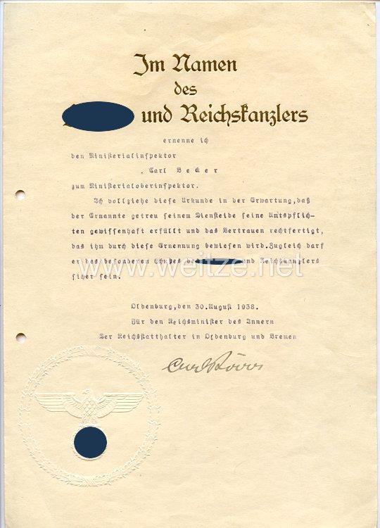 III. Reich - Originalunterschrift von Carl Röver, Reichsstatthalter in Oldenburg und Bremen