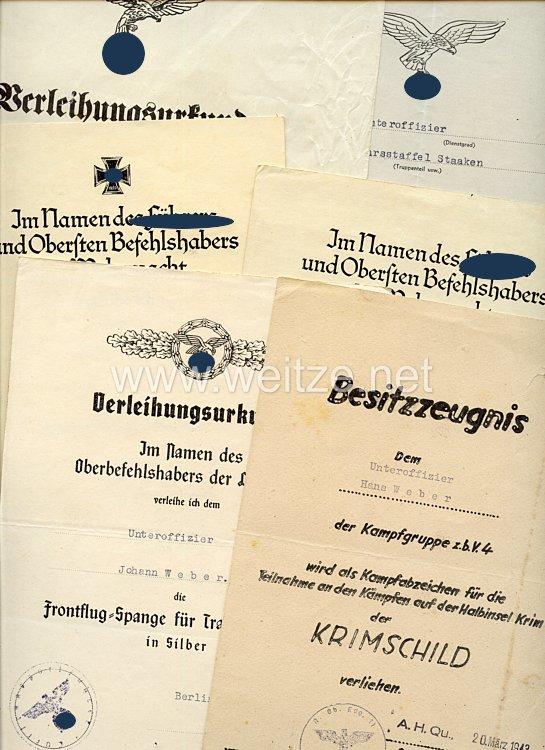 Luftwaffe - Urkundengruppe für einen späteren planmäßigen Feldwebel der Luftverkehrsstaffel Staaken