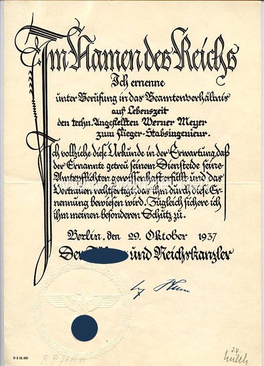 Luftwaffe - Originalunterschriften von Ritterkreuzträger Generaloberst Erhard Milch
