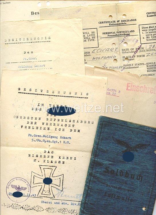 Luftwaffe - Dokumentengruppe für einen späteren Gefreiten der 5./Fallschirm-Pz.-Gren.-Rgt.1