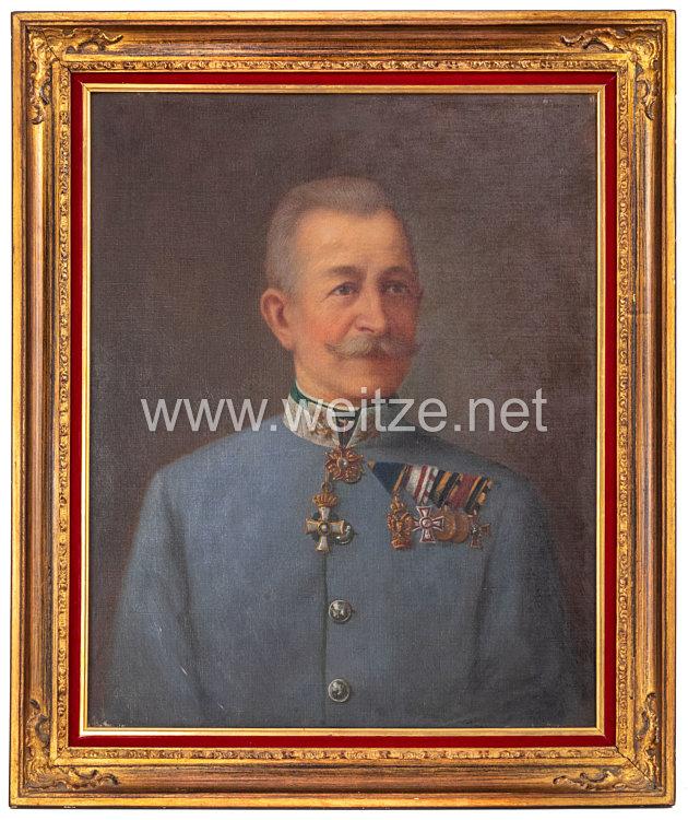 Österreich K.u.K. großes Ölgemäldes eines Oberst und Regimentskommandeur einesLandwehr-Infanterieregimentes