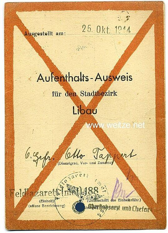 Aufenthalts-Ausweis für den Stadtbezirk Libau ( Lettland )