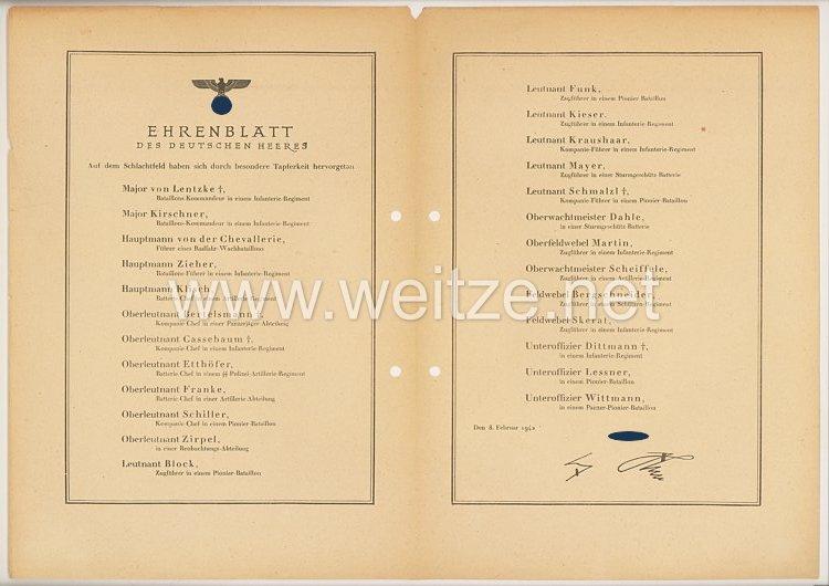 Ehrenblatt des deutschen Heeres - Ausgabe vom 8. Februar 1942