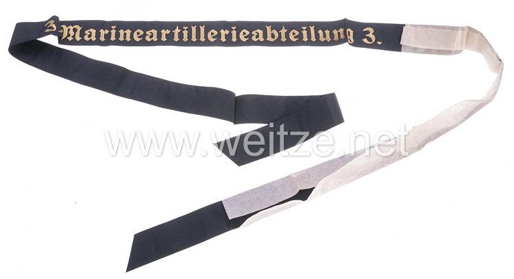 """Kriegsmarine Mützenband """" 3. Marineartillerieabteilung. 3."""""""