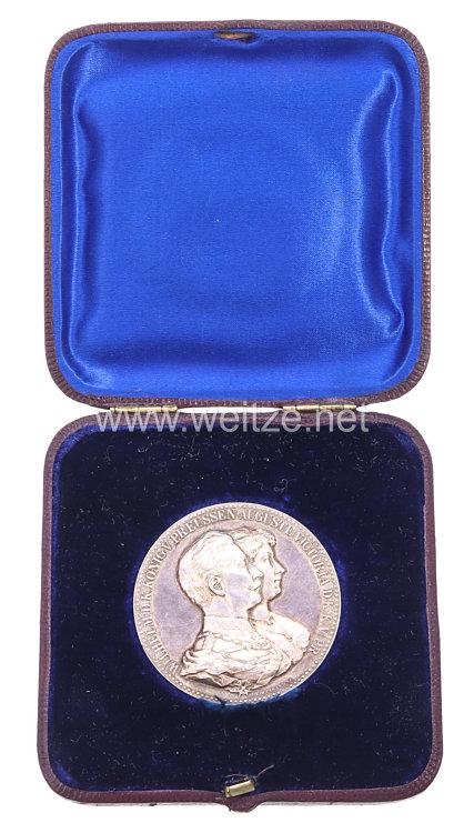 Preussen Nicht tragbare Ehejubiläums-Medaille zur goldenen Hochzeit Kaiser Wilhelms II. und Augusta Victorias 1888