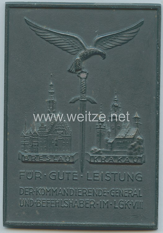"""Luftwaffe nichttragbarer Ehrenschild """"Für gute Leistung - Der Kommandierende General und Befehlshaber im Luftgau Kommando VIII Breslau Krakau"""""""