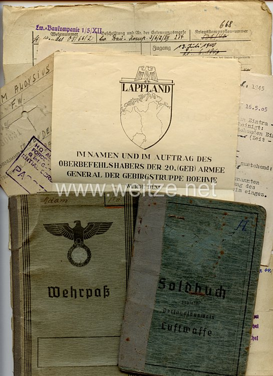 Soldbuch mit Wehrpaß und Verleihungsurkunde für einen späteren Feldwebel der Lw.-Bau-Komp.1/5/XII und Lapplandkämpfer