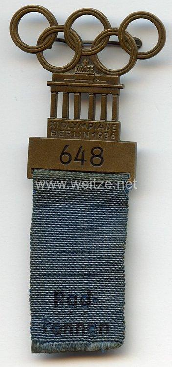 XI. Olympischen Spiele 1936 Berlin - Offizielles Teilnehmerabzeichen für einen Sportler in der Sportdisziplin Radrennen