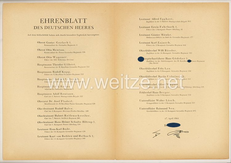 Ehrenblatt des deutschen Heeres - Ausgabe vom 17. April 1944