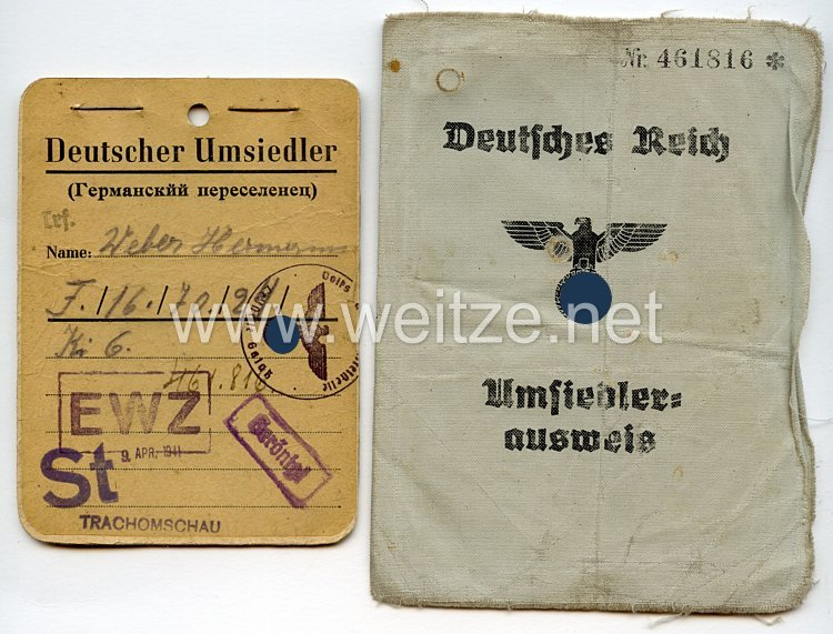 III. Reich - Umsiedlerausweis und Kennkarte für einen Mann des Jahrgangs 1904 aus Russland
