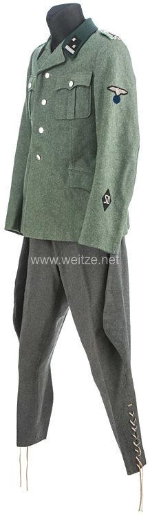 SS/SD Feldbluse und Stiefelhose für einen SS-Sturmscharführer des Sicherheitsdienst