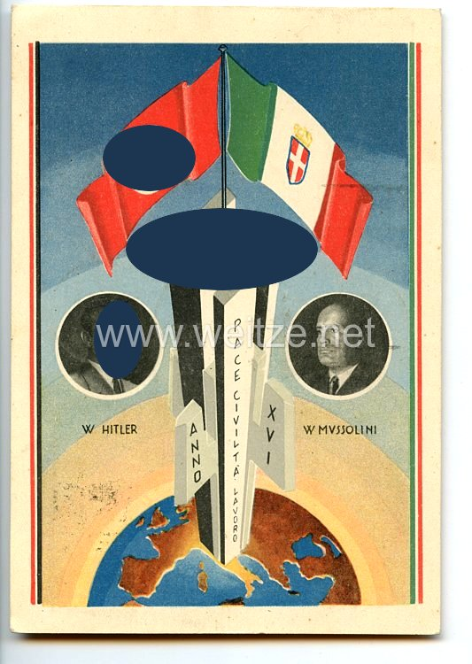 "III. Reich - farbige Propaganda-Postkarte - "" Hitler - Mussolini 3.-9. Mai 1938 in Rom """