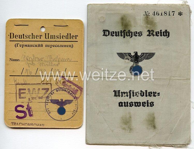 III. Reich - Umsiedlerausweis und Kennkarte für eine Frau des Jahrgangs 1913 aus Russland
