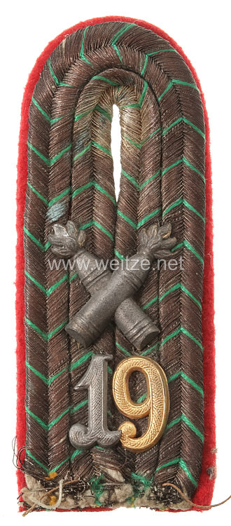 Königreich Sachsen 1. Weltkrieg Einzel Schulterstück feldgrau für einen Leutnant im schweren Artillerie-Regiment Nr. 19