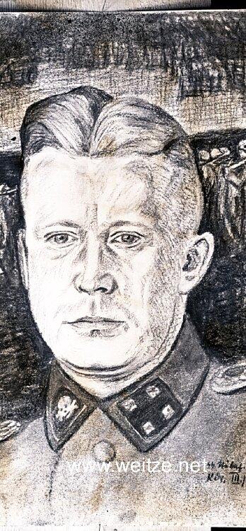 Glasplatten für eine Portraitzeichnung des Waffen-SS