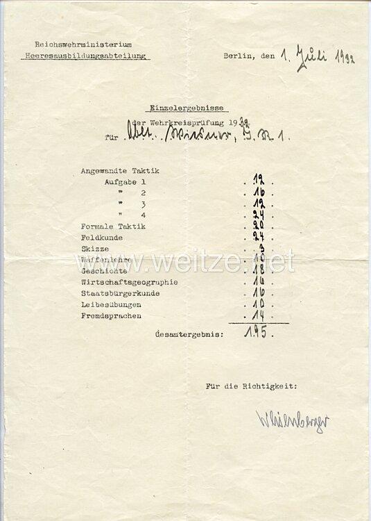 Heer - Originalunterschrift vom späteren Ritterkreuzträger General der Infanterie Karl Weisenberger