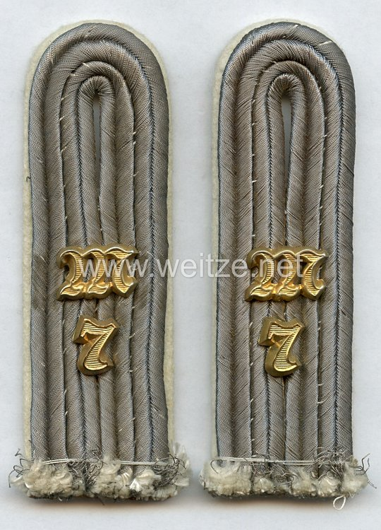 Wehrmacht Heer Paar Schulterstücke für einen Leutnant Maschinengewehr-Abt. Nr. 7