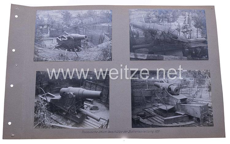 Deutsches Kaiserreich Fotoalbum, russisches 28 cm Geschütz der Batteriestellung 144