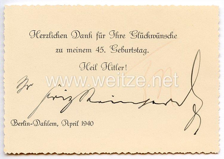 III. Reich - Originalunterschrift von Staatssekretär Fritz Reinhardt