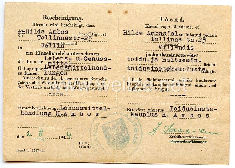 III. Reich / Estland - Bescheinigung für eine Frau ein Einzelhandelsunternehmen zu führen