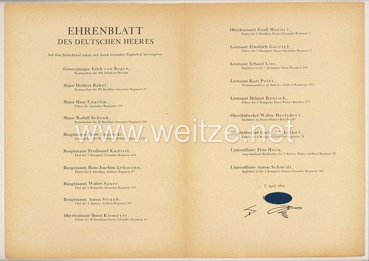 Ehrenblatt des deutschen Heeres - Ausgabe vom 7. April 1944