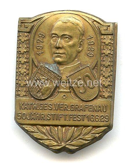 """Erinnerungsabzeichen """"Katholische Gesellen Verein Grafenau, 50 Jähr. Stiftung Fest 16.6.1929""""."""