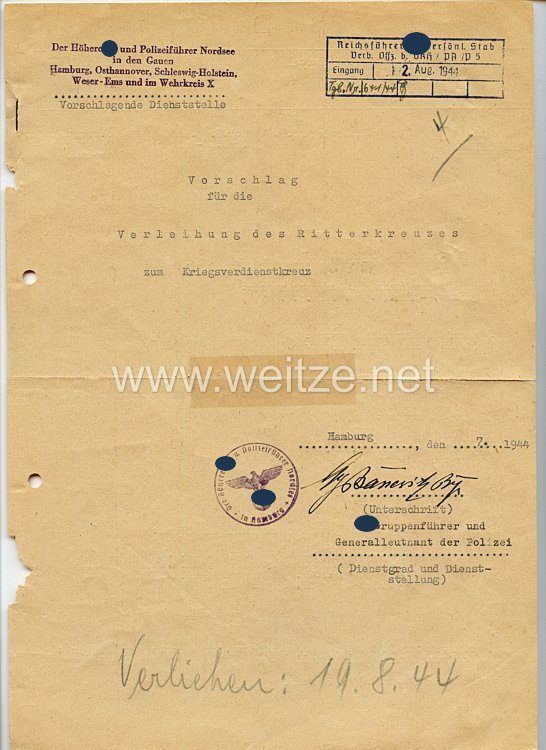 Vorschlagsliste für die Verleihung des Ritterkreuzes zum Kriegsverdienstkreuz für SS-Brigadeführer Hans Kehrl, Polizeipräsident von Hamburg