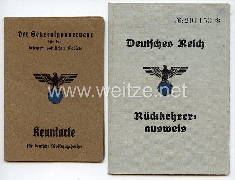 III. Reich / Der Generalgouverneur für die besetzten polnischen Gebiete - Kennkarte für deutsche Volkszugehörigkeit