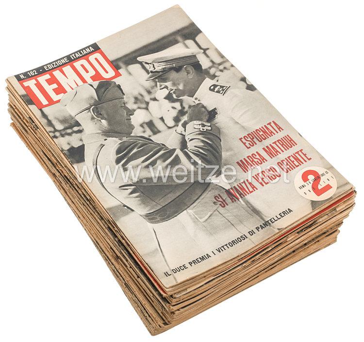 """III. Reich - Konvolut von 45 verschiedenen Heften der italienischen Zeitschrift """" Tempo """" von 1942"""