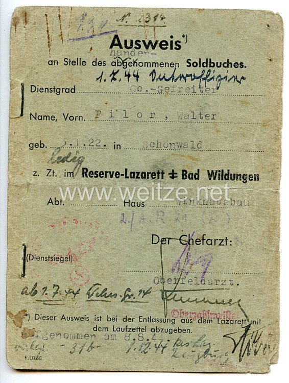Heer - Ausweis an Stelle des abhandengekommenen Soldbuches eines Obergefreiten der 2./Art.-Rgt.21