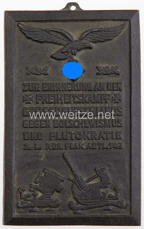 Luftwaffe Erinnerungsplakette der 2. L. Res. Flakabteilung 743